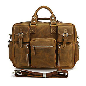 Genuine Leather Messenger Laptop Bag Crossbody Brief Case Unisex Shoulder Bags