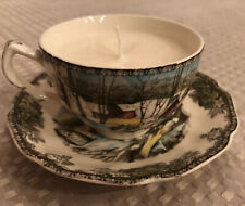 Johnson Brothers Friendly Village Ice House Tea Cup Candle Vintage Upcycled