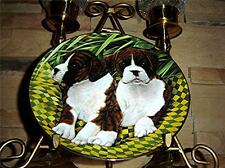Two of a Kind Cherished Boxers Puppy Dog Danbury Plate