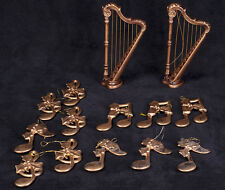 Bronze Plastic Musical Notes Harp Instruments Christmas Ornaments 14 Pcs