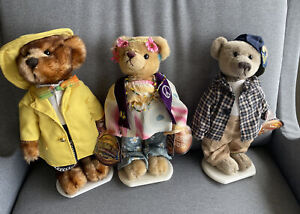 Lot Of 3 Brass Button Bears Ivy Bennet Mookie With Stands