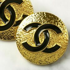 Chanel Button STAMPED 2pc CC Black & Gold 23mm Vintage Style 2 Buttons AUTH!!