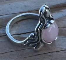 GODDESS ABUNDANCE RING .925 Sterling Silver Sz 10 w/ Genuine Rose Quartz gem