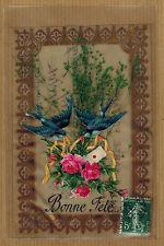 CPA Fantaisie celluloïd fleur rose ajoutis hirondelles kh0135