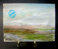 BEAUTIFUL Cloud Storm River Landscape small Original Watercolor PAINTING signed