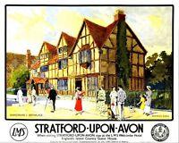 Stratford auf Avon LMS Railway Vintage alt Bild Retro Poster A4 Aufdruck