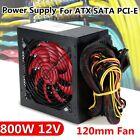 800W Gaming Computer Power Supply 80 Plus + 12cm Fan PFC 20/24Pin AMD PC
