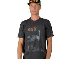 GNU snowboard skateboard surf COLVER PUNK TEE-SHIRT mens SMALL CHARCOAL New