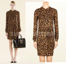 $1,450 GUCCI BLOUSE DRESS BROWN LEOPARD PRINT SILK MANDARIN COLLAR IT 40 / US 4