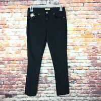 Earl Jean Womens Size 8 Skinny Leg Sequined Pockets Black Denim Jeans