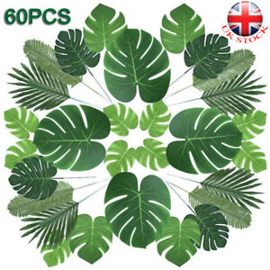 60X Tropical Artificial Palm Leaves Hawaiian Luau Jungle Beach Theme Party Decor