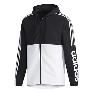 Mens Adidas Black/White Essentials Colorblock Windbreaker