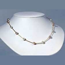 "14k Yellow Gold PINK & WHITE AKOYA TEA CUP PEARL NECKLACE 16.5"" SNAKE CHAIN"