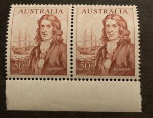 1966-73 Australia Decimal Navigator Dampier 50c Red Brown MUH No WMK Joined Pair