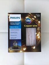 NIB Philips LED Copper Wire AA Battery Dewdrop 30 Lights Timer Warm White 9.6 ft