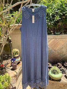 CHICO'S NWT$129 MAXI DRESS CROCHET DETAIL COTTON/MODAL ~WAVE BLUE~SZ.3(16-18)