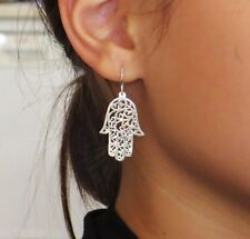 Silver hamsa earrings ,large size silver hamsa earrings ,Jewish jewelry,judaica
