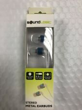 """SOUND LOGIC STEREO EARBUDS """" WITH BUILT-IN MIC-SILICONE BUDS-DYNAMIC SOUND Blue"""