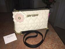 Betsey Johnson Quilted Hearts Double Zip Black & Cream Shoulder Bag