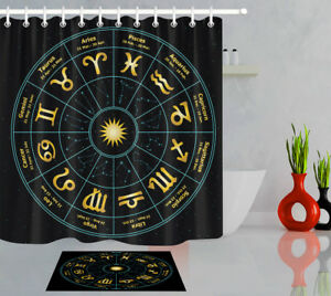 Waterproof Fabric Shower Curtain Set Circle with Signs of Zodiac Constellations