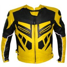 Mens Motorcycle Jackets Cowhide Leather Yellow Sports Racing Biker Casual Zip Up
