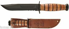 KA-BAR #1219 U.S. ARMY COMBO EDGE FIGHTING UTILITY KNIFE w/ EMBOSSED SHEATH