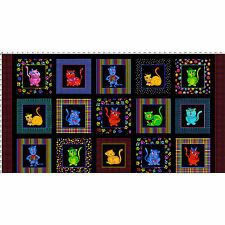 "24"" Fabric Panel - Loralie Designs Cool Cats Rainbow Cartoon Kitten Blocks Black"