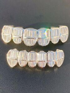 Real 925 Sterling Silver ICED Baguette Diamond GRILLZ Teeth Top & Bottom Set ICY