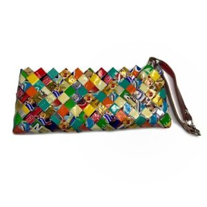 Nahui Ollin Upcycled Recycled Candy Wrapper Wristlet Clutch Zipper Colorful Fun
