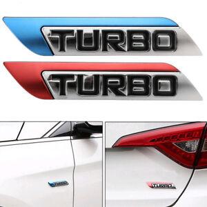 3D Metal Turbo Logo Car Body Fender Emblem Badge Decal Sticker Body Decor Random