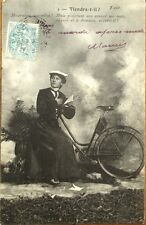 Bicycle/Bike & Woman Reading 1904 Postcard: 'Viendra-t-Il?
