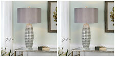 PAIR BRESCIA SMOKE GRAY CERAMIC TABLE LAMP BRUSHED NICKEL METAL CRYSTAL BASE