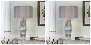 PAIR BRESCIA SMOKE GRAY CERAMIC TABLE LAMP BRUSHED NICKEL METAL CRYSTAL BASE