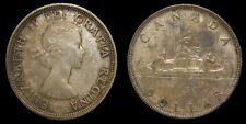 Canada 1953 Silver Dollar SF Shoulder Fold Queen Elizabeth II Choice Toning