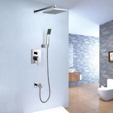 Bath Shower System with Square Rain Head Handheld Shower & Tub Spout Filler Set