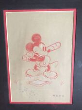Walt Disney, Mickey Mouse Playing Baseball, W.D.P. Drawing/Sketch Pre-1970