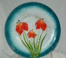 """Handcrafted Fused Glass Huge 16"""" Shallow Bowl Teal/Orange Lilies-Upraised Design"""