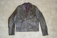 Acne Studios Gasoline Black Leather Zip Biker Jacket Coat Mens EU 52 UK 42 XL
