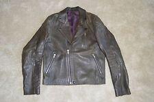 Acne Studios Gasoline Black Leather Zip Biker Jacket Coat Mens Size 52 / 42 / XL