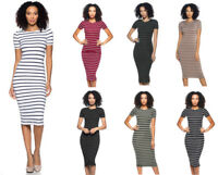 Women's Soft Stretchy Striped T-Shirt Midi Dress Bodycon Casual Basic Fitted