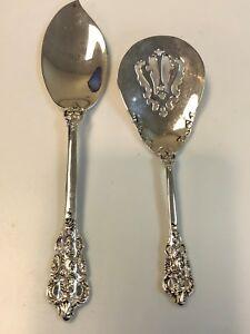 "Vintage Set of 2 Wallace Silversmiths Jelly Knife & Preserve Spoon 7"""
