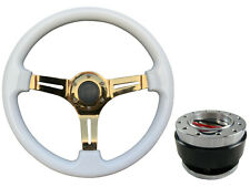 White Gold TS Steering Wheel + Quick Release boss B29 for VAUXHALL