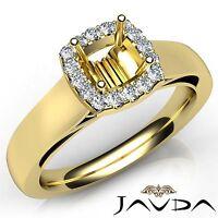 Cushion Diamond Engagement Halo Prong Set 0.2Ct Semi Mount Ring 14k Yellow Gold