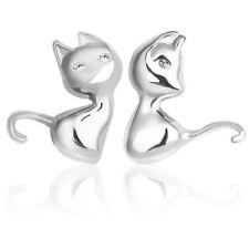 Women Lady Cute Fashion Solid 925 Sterling Silver Cat Ear Stud Earrings