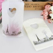 50pcslot White Eiffel Tower Mini Plastic Gift Packaging Bags With Handles Bags