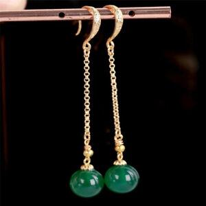 12MM green agate beads Earrings Dangle 18KGP Chain Ms gift Easter Lucky Hook