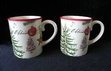 Williams Sonoma 2011 CHRISTMAS CAROLS MUGS Set of 2 Cups