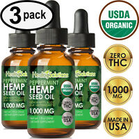 Peppermint Hemp Oil Drops for Pain Relief, Stress, Anxiety, Sleep - (3 PACK)