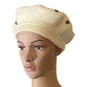 DU PAREIL AU MEME Wool Beret Little Girl Cream Buttons Accent Stitching 50 cm