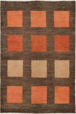 4X6 Hand-Knotted Gabbeh Carpet Traditional Brown Fine Wool Area Rug D35895